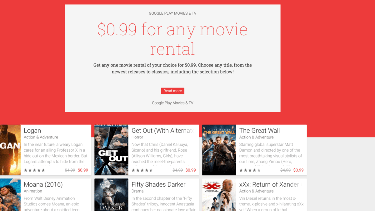 99 Cent Rentals From Google Play Movies Caveats Apply