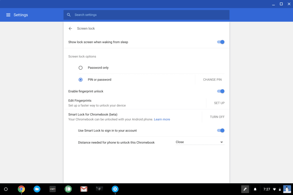 Chromebook Fingerprint Scanner Settings In Stable Channel