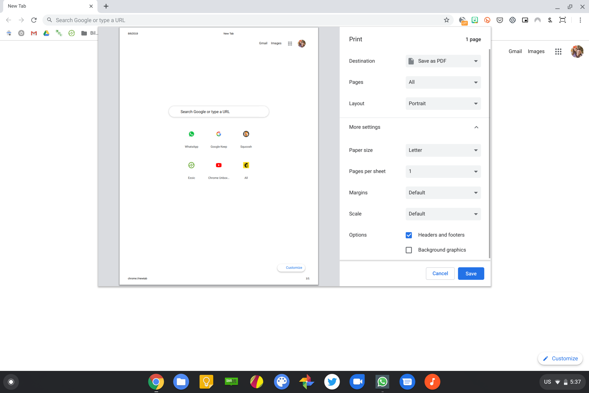 New Material Design print preview UI shows up in Chrome OS Dev Channel