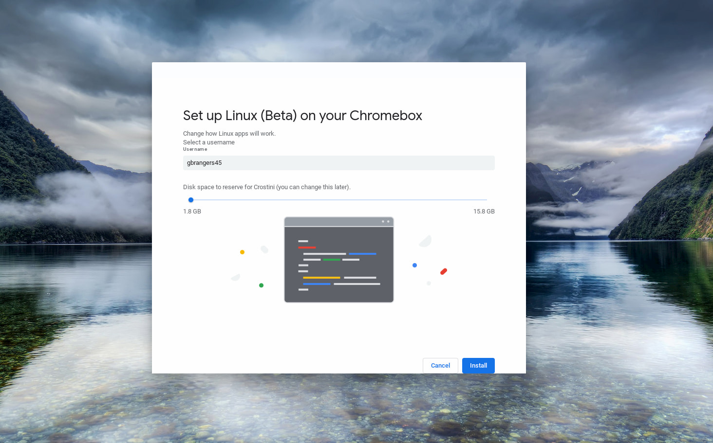 Linux on Chrome OS: Disk resizing and custom username now working in Canary Channel