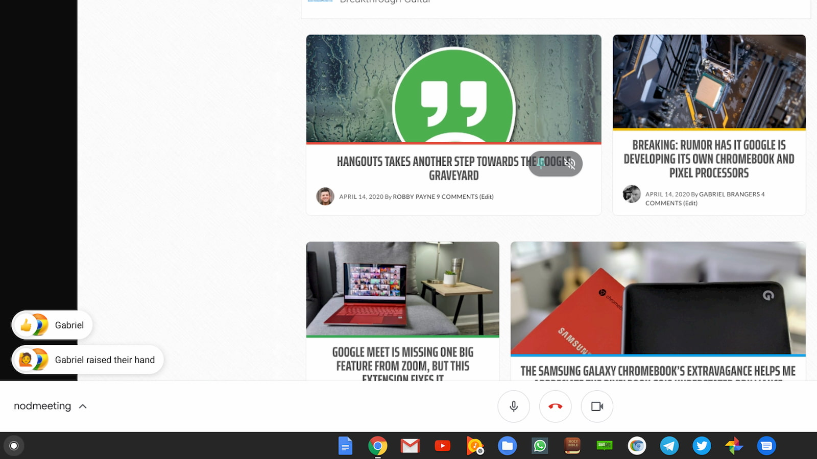 Nod extension brings simple, silent reactions to your Google Meet rooms
