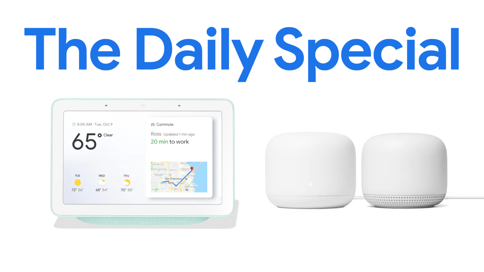 Google Store Daily Special: $60 off a Nest Hub/Wi-Fi and Point