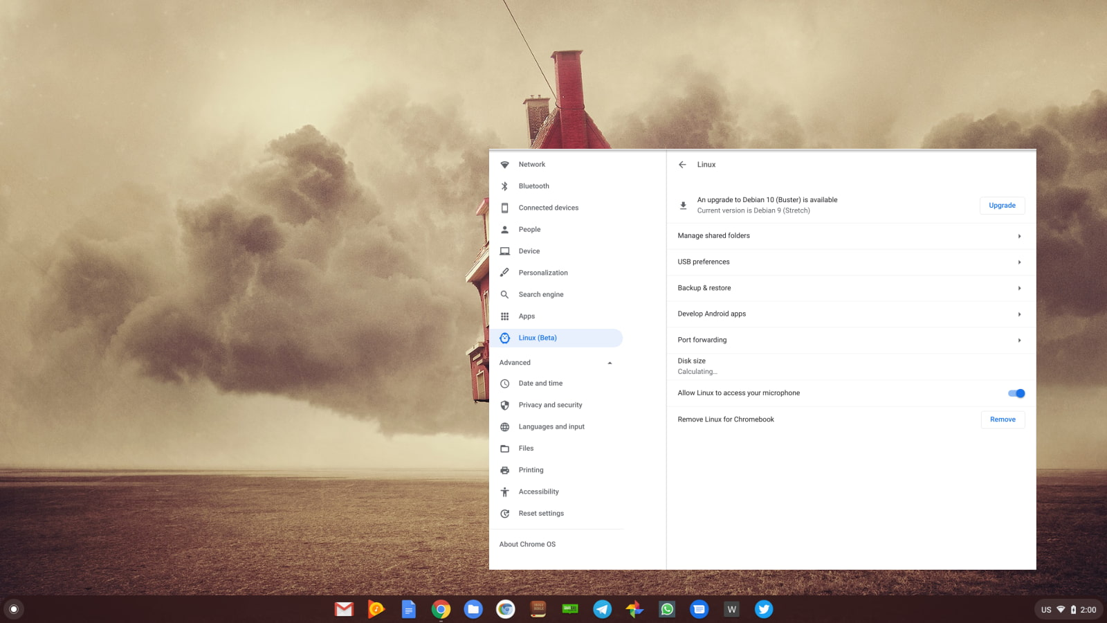 Chrome OS 86 adds update button for Debian Linux container