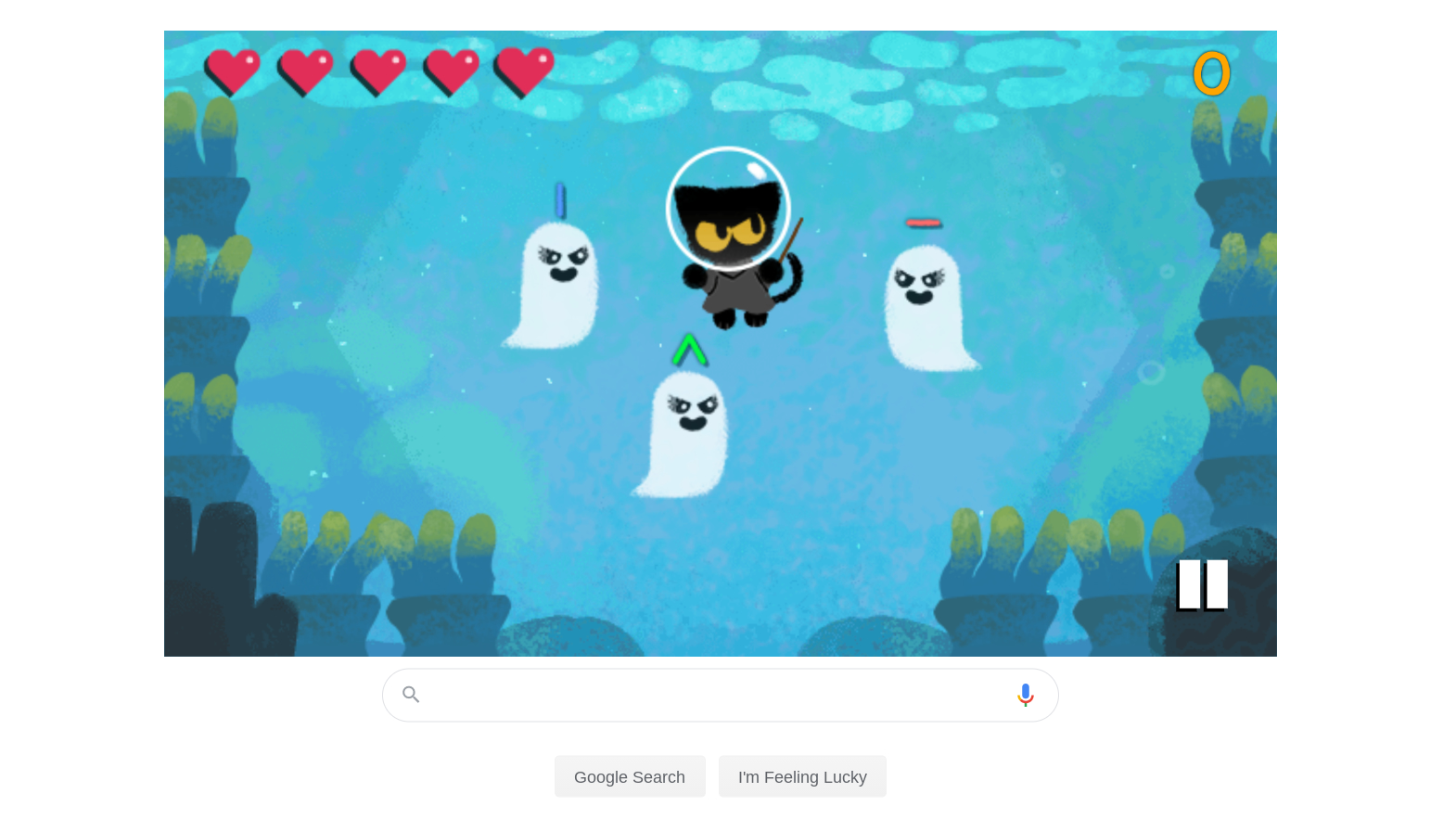 Momo the Cat is back for the 2020 Halloween Google Doodle