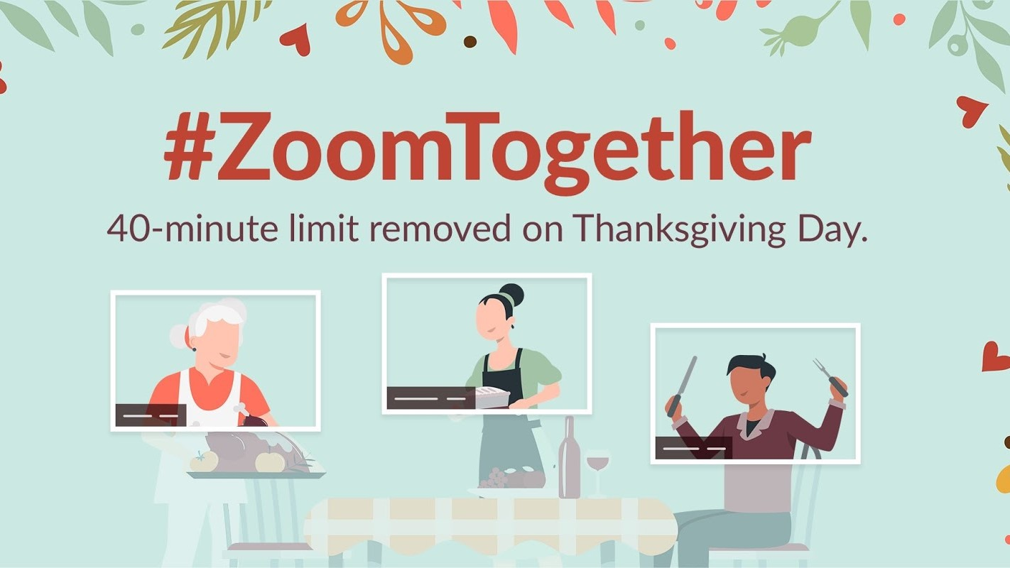 Zoom is offering free unlimited length calls for Thanksgiving Day