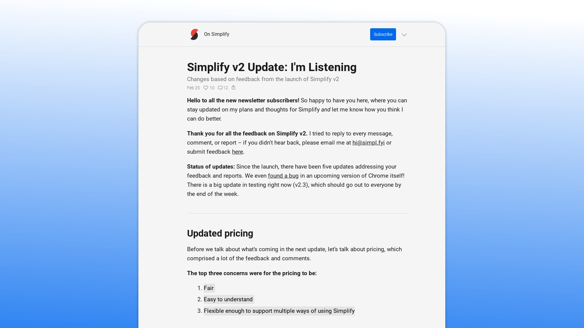 After feedback, Simplify Gmail v2 has a simple pricing structure that looks great