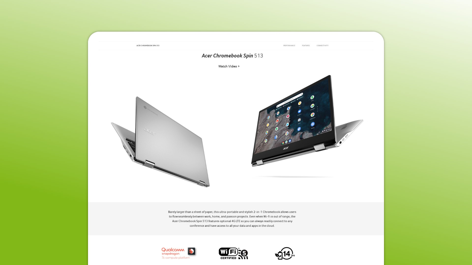 The Snapdragon 7c Acer Chromebook Spin 513 gets U.S. landing page, inches closer to release