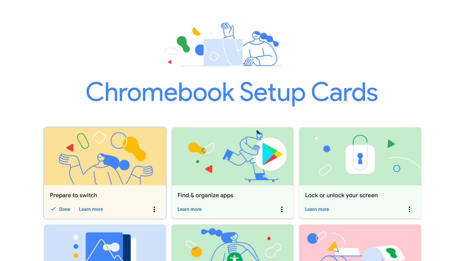 First-time setup checklist cards begin appearing in the Chromebook Explore app