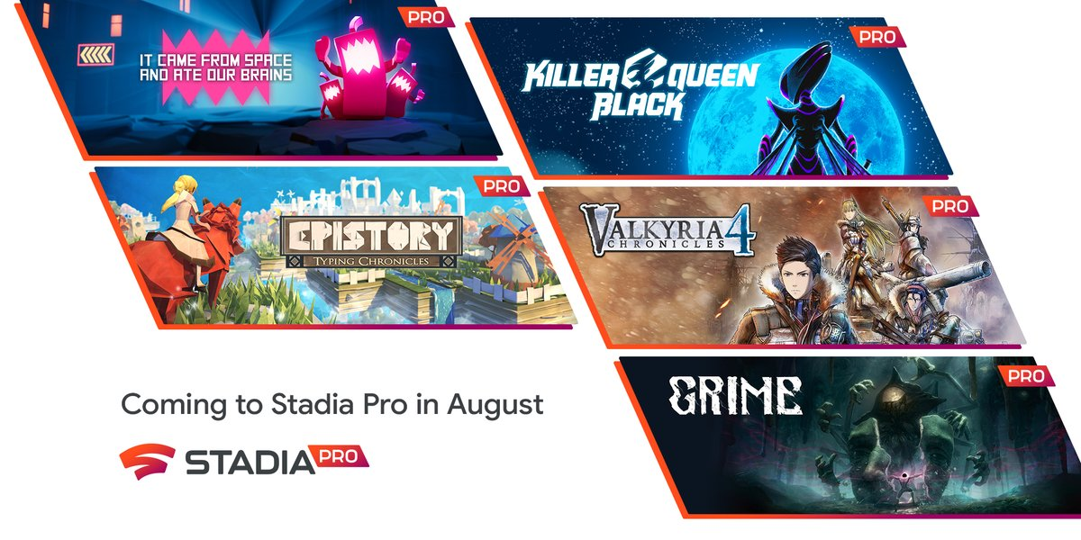 [Claim] Stadia Pro adds five games for August – Valkyria Chronicles 4, Epistory, Grime, and more